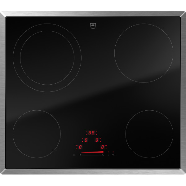 Plan de cuisson vitrocéramique Zug CookTop V4000 A604, commande par slider, cadre chrome 3115100000